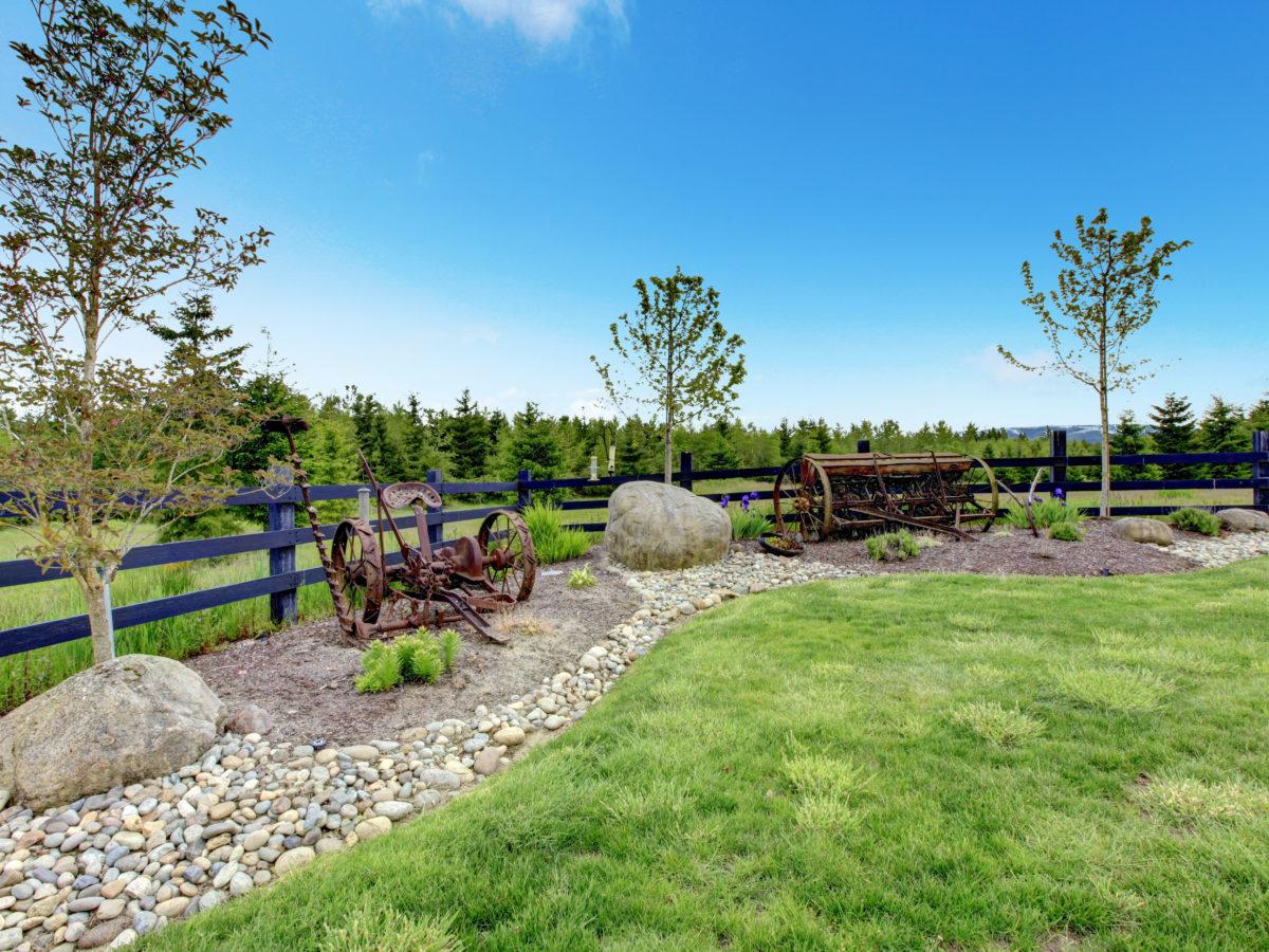 landscape boulders rocks placed in backyard