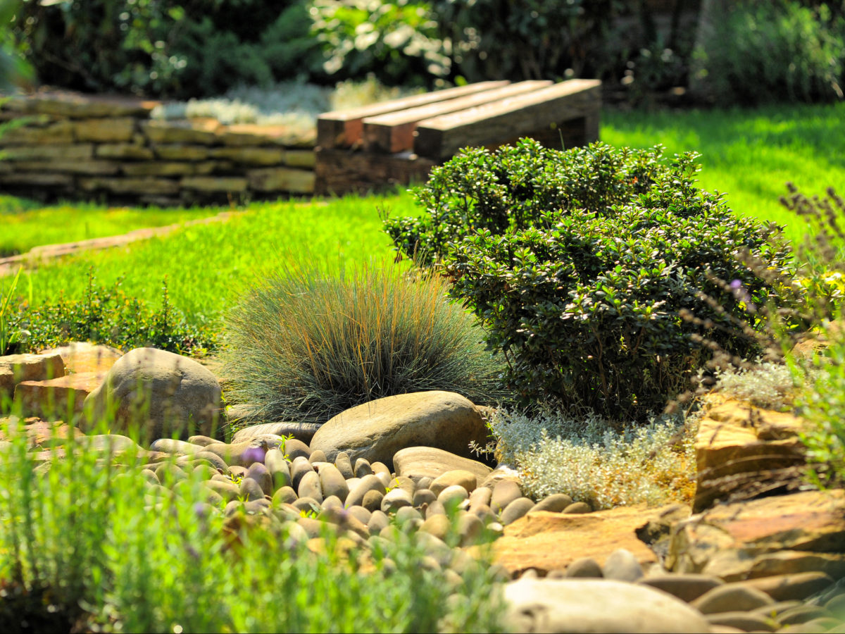 Dry creek bed with tan boulders and cobble stones