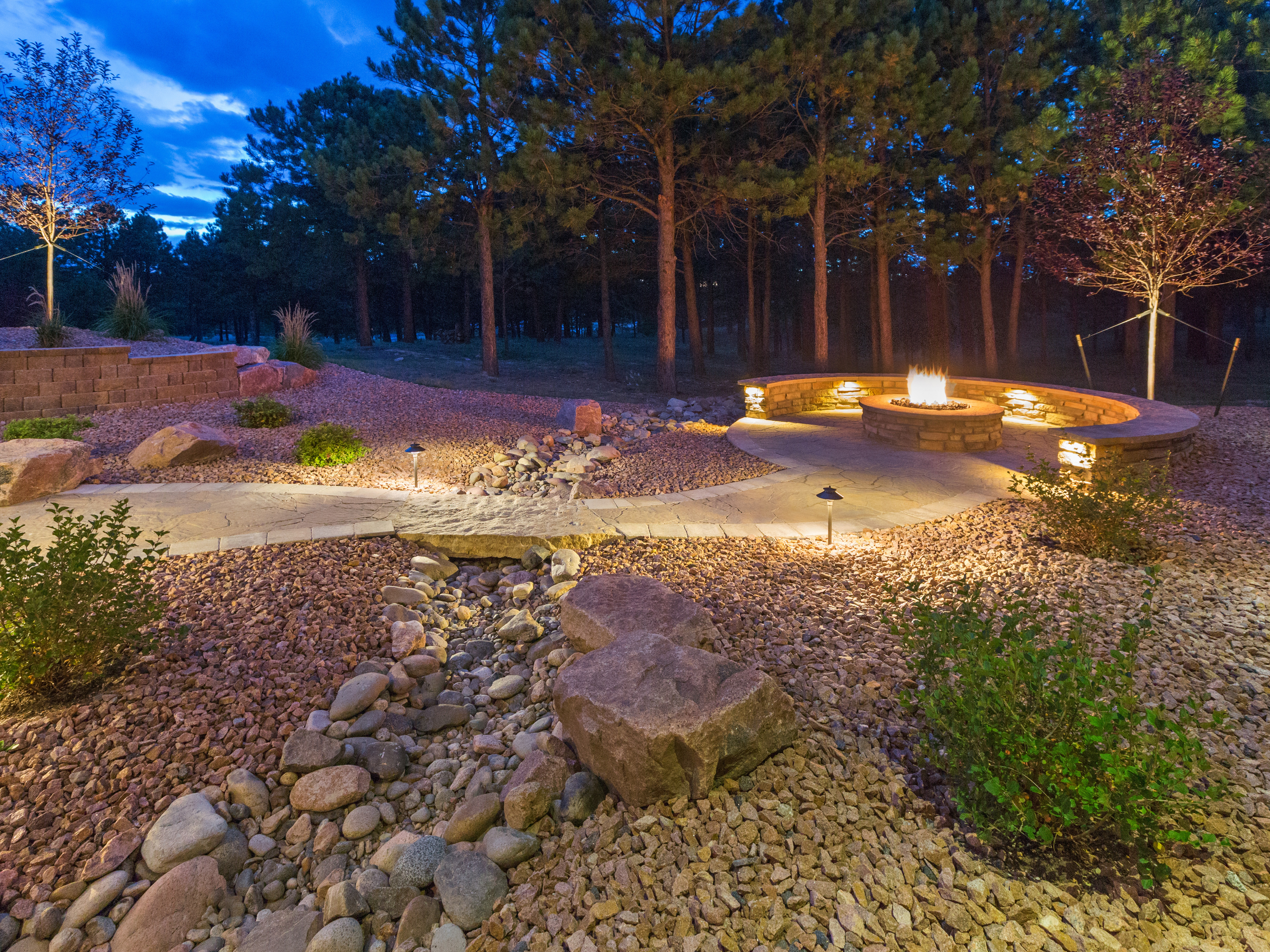 Dry creek bed with cobble stones and boulders