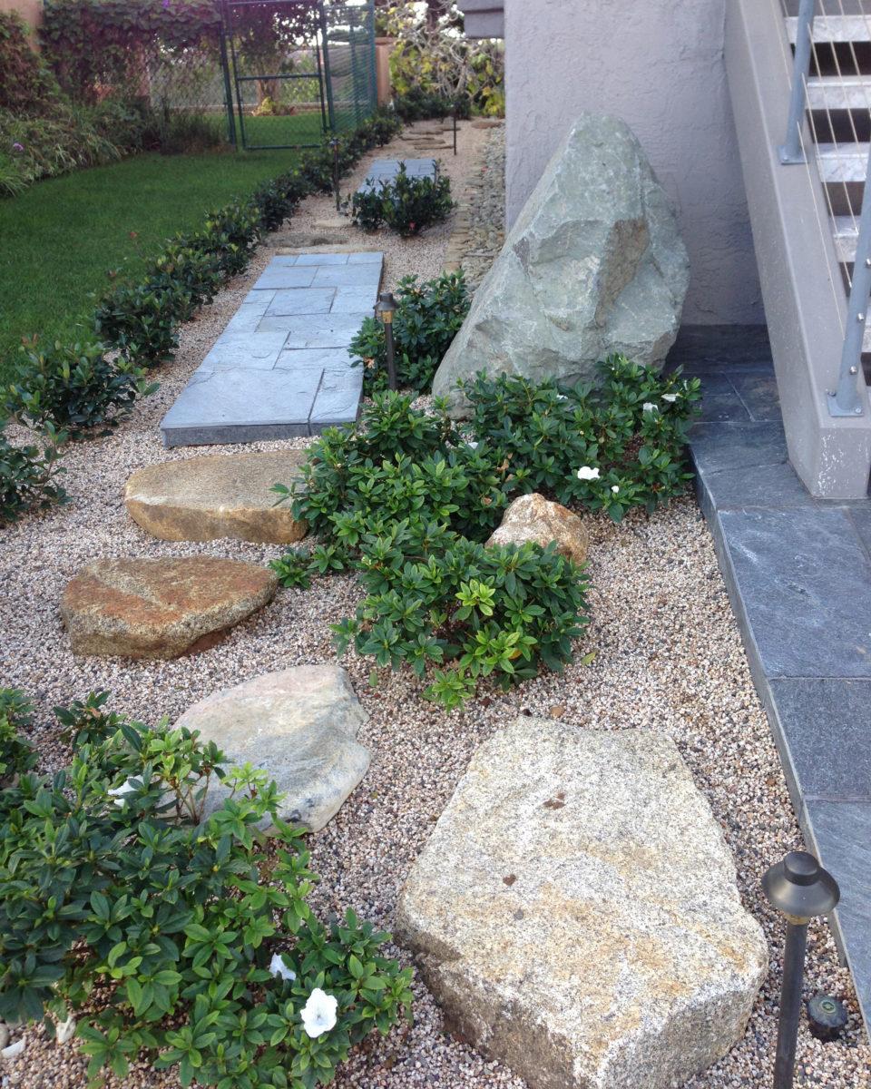 Flat boulder pathway in zen garden