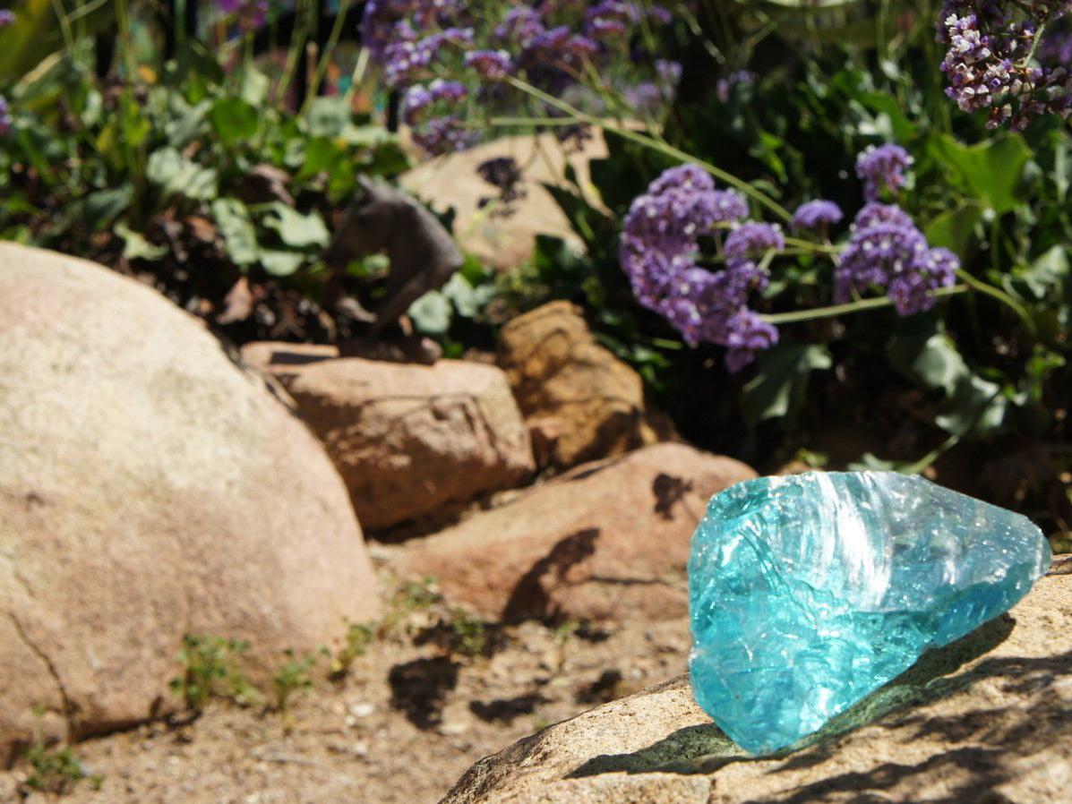 Landscape glass piece in mosaic rock garden