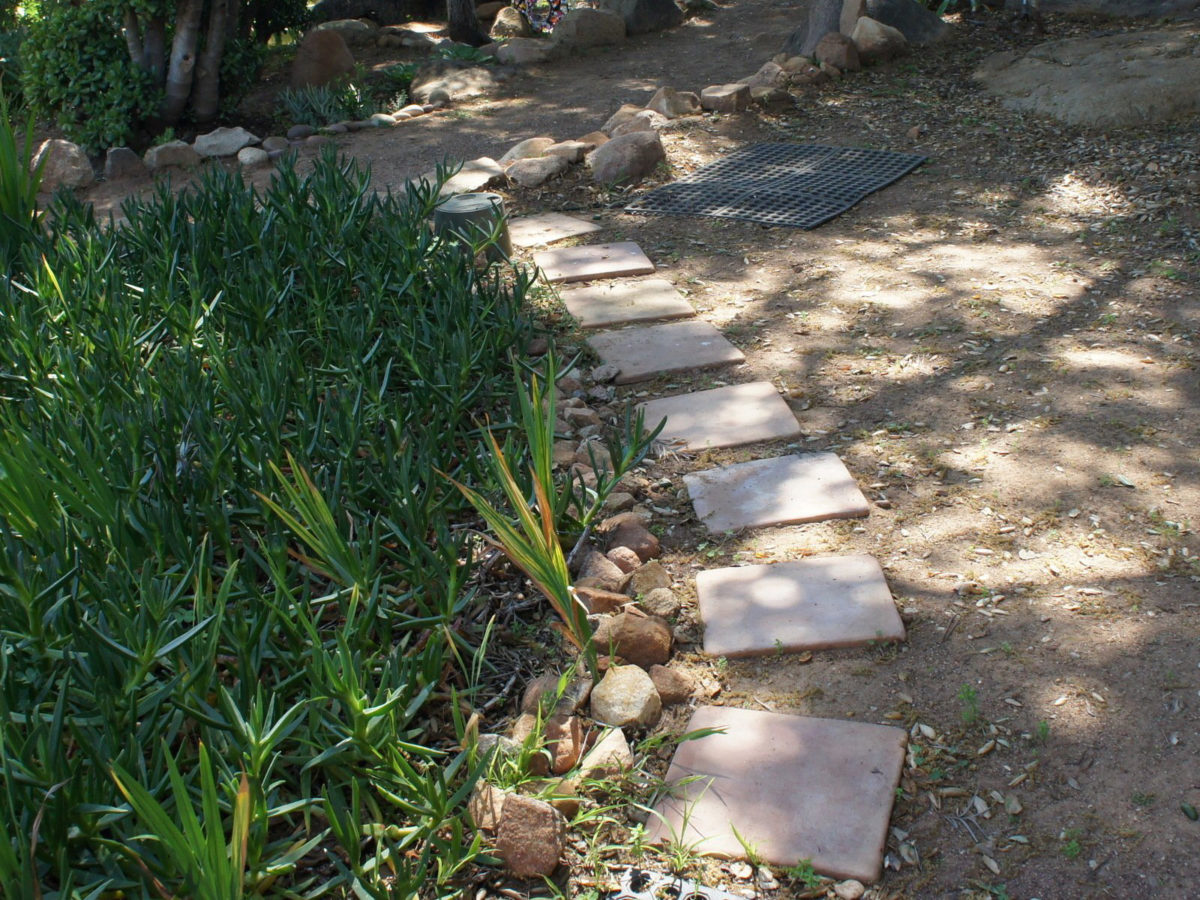 Stepping stones in mosaic rock garden