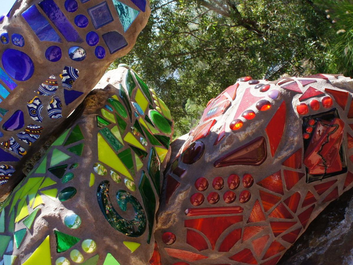 Assortment of mosaic rock art pieces
