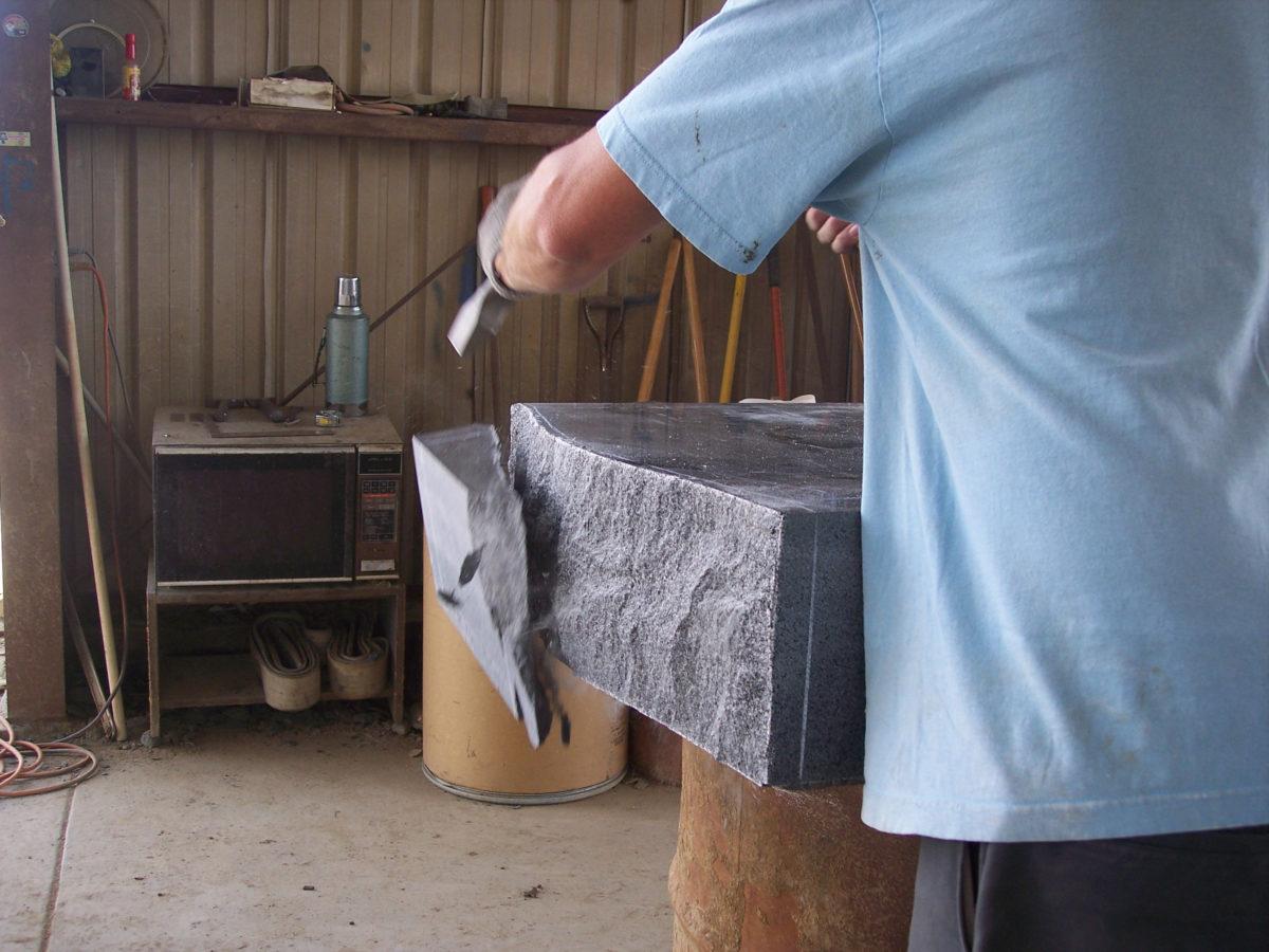 Custom stone pitching Riley Fritsch