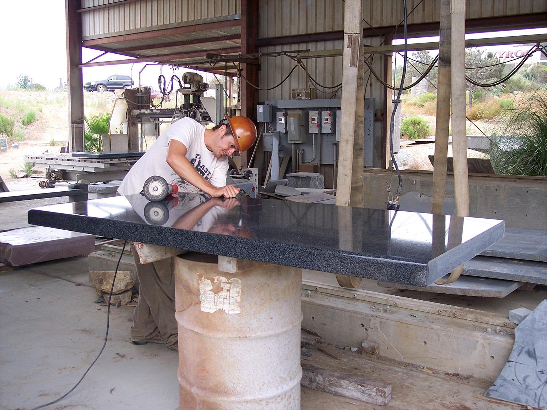 Custom stone counter top polishing