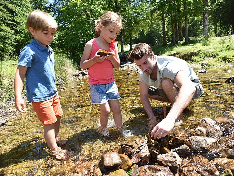 Creative landscape activities for kids building a dam