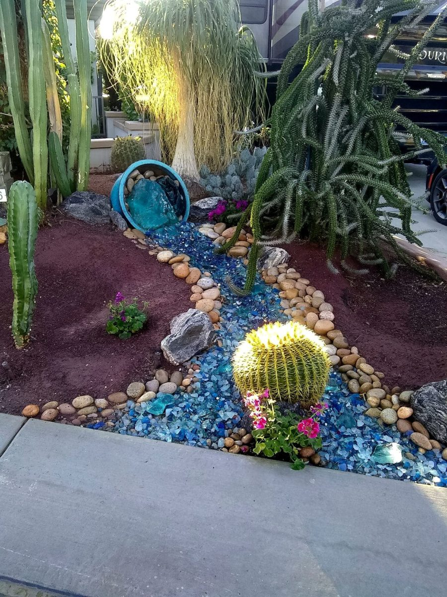 landscape glass, dry streambed