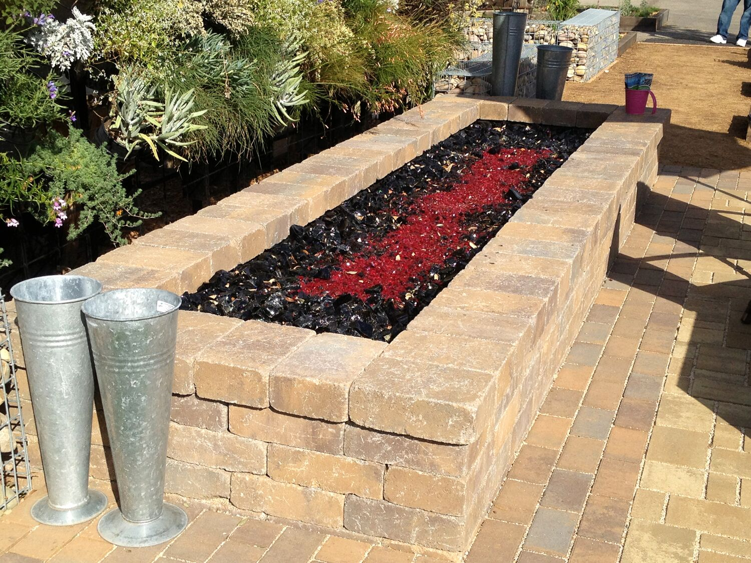 landscape glass, virtual fire pit